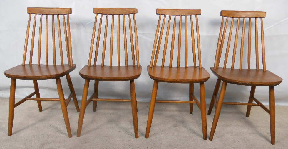 set of four teak retro 1960 s stickback dining chairs sold